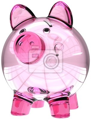 Hucha de vidrio translúcido vacía de color rosa. Dinero donar