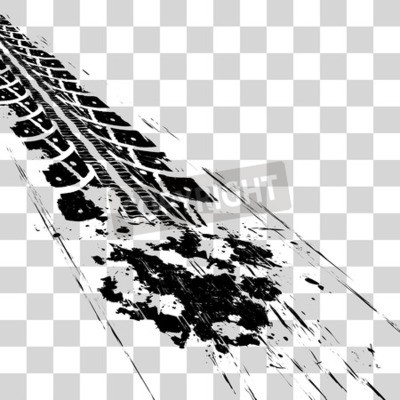 Cuadro Huellas de neumáticos Ilustración de vector onon fondo a cuadros