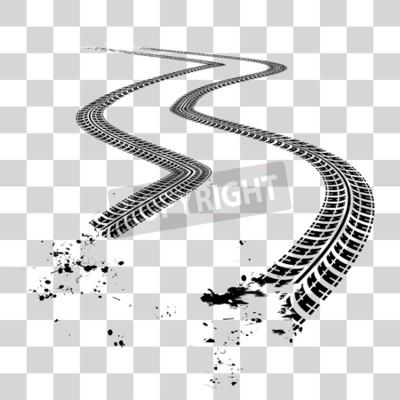 Cuadro Huellas de neumáticos Ilustración de vector sobre fondo a cuadros