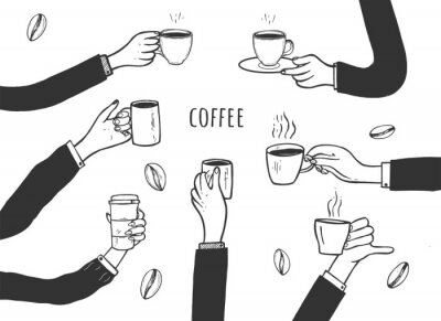 Cuadro Human hands with cups of coffee set