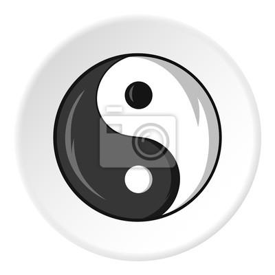 Icono De Yin Yang De Signo En Estilo De Dibujos Animados Aislado