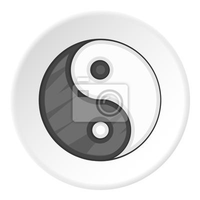 Icono De Yin Yang Ilustración De Dibujos Animados De Yin Yang