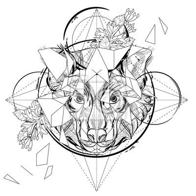 Icono triangular de la cabeza animal, línea diseño geométrico ...