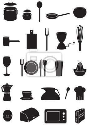 Iconos Cocina | Iconos Cocina Fijados Siluetas Negras Sobre Fondo Blanco Pinturas