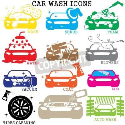 Cuadro iconos de lavado de coches de color sobre fondo blanco