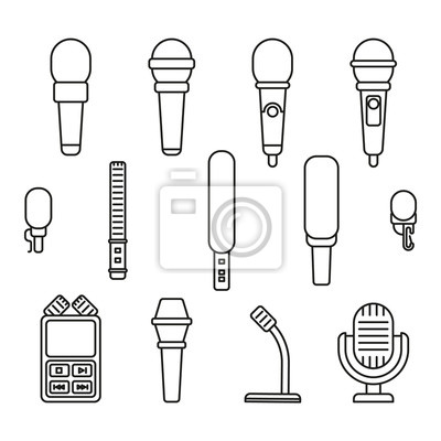 1dbf500b3a719 Cuadro Iconos de Microphonesline. Micrófono