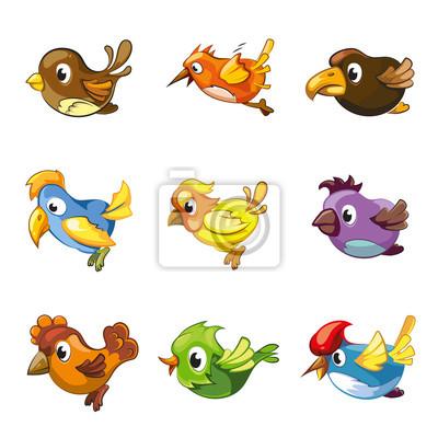 Iconos Divertidos De Los Pájaros Vector De Aves De Dibujos Animados