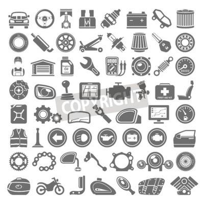 Cuadro Iconos Negro - Partes del coche y de la motocicleta