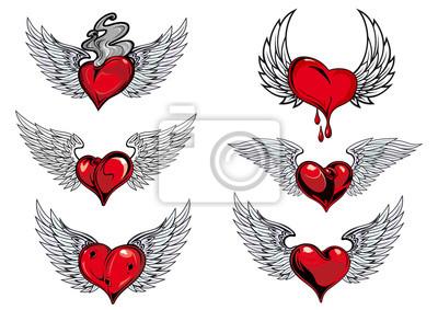 Iconos Y Los Tatuajes Del Corazón Con Alas Pinturas Para La Pared