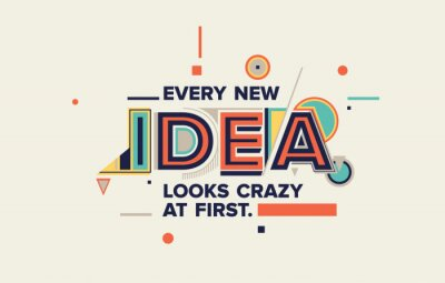 Cuadro Idea quote in modern typography. idea  concept for your blog, wall graphics, typographic poster, web design and office space graphics.