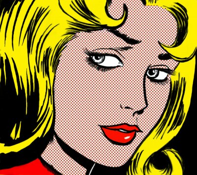 Cuadro illustration of a girl face in the style of 60s comic books, pop art
