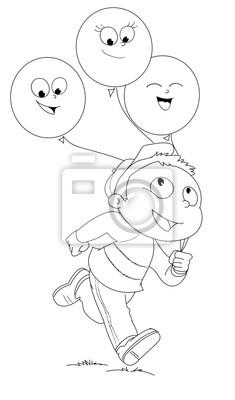 Illustrazione Da Colorare Di Bambino Che Corre Estafa Palloncini