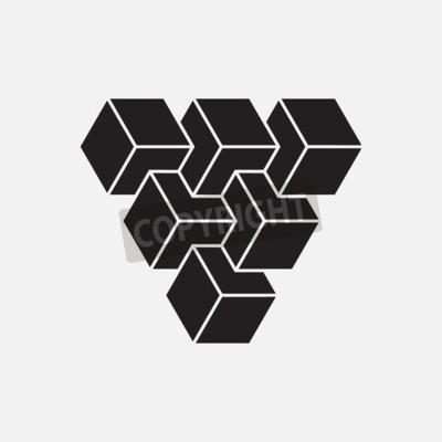 Cuadro Ilusión óptica, cubos, elemento geométrico, ilustración vectorial