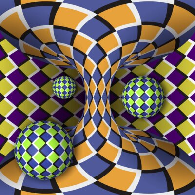 Cuadro Ilusión óptica de rotación de tres bolas alrededor de un hiperboloide en movimiento. Fondo abstracto.