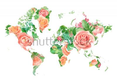 Cuadro Ilustración acuarela del mapa del Mundo en Flores. Plantilla para proyectos de bricolaje, invitaciones de boda, tarjetas de felicitación, carteles, blogs, sitio web