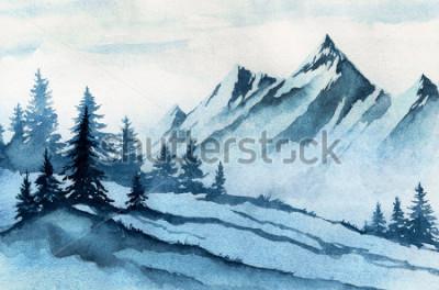 Cuadro Ilustración acuarela Paisaje de montañas de invierno, árboles, cielo.