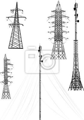 ilustración con la colección de torres eléctricas