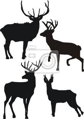 ilustración con las siluetas de ciervos