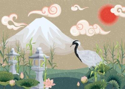 Cuadro Ilustración con montaña, grúa, lotos y linternas