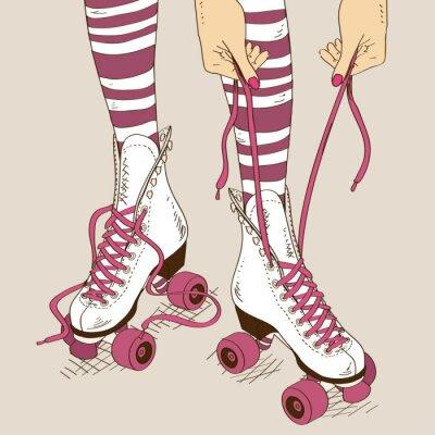 Cuadro Ilustración con piernas femeninas en patines retro rodillos