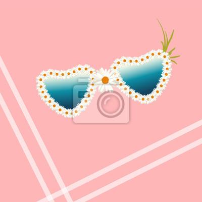 dc900fd748 Cuadro Ilustración de acuarela abstracta gafas de sol en forma de corazón,  blanco marco floral