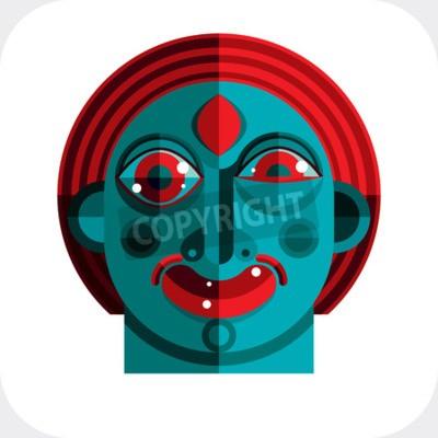 Cuadro ilustración de avatar modernista bizarro, imagen tema cubismo. Expresión de la cara de una persona.