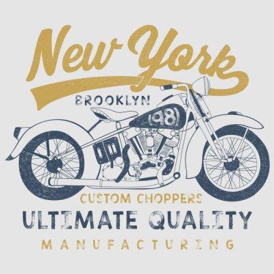 Cuadro Ilustración de bosquejo de la motocicleta del vintage con la tipografía