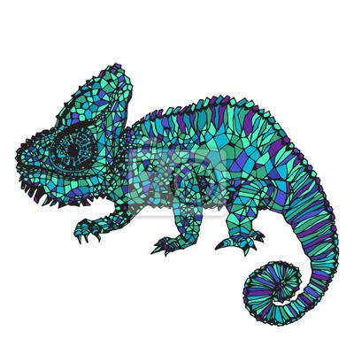 Cuadro Ilustración de dibujado a mano del camaleón.