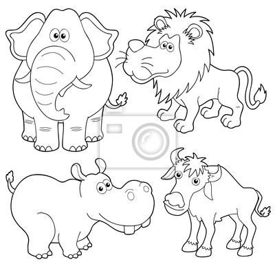 Cuadro Ilustración De Dibujos Animados De Animales Salvajes Esquema
