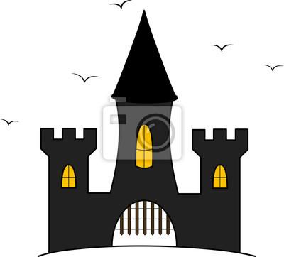 Ilustración de dibujos animados de castillo con cuervos volando ...