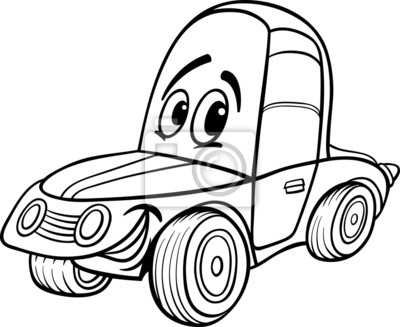 Ilustración de dibujos animados de coches para colorear libro ...