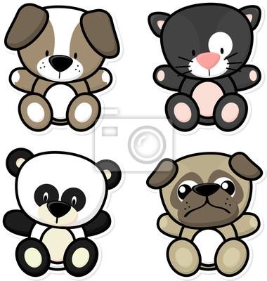 Ilustración De Dibujos Animados De Cuatro Animales Bebé Aislados