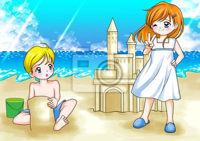 Ilustración De Dibujos Animados De Dos Niños Jugando En La Playa