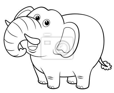 Ilustración de dibujos animados de elefantes - libro para colorear ...