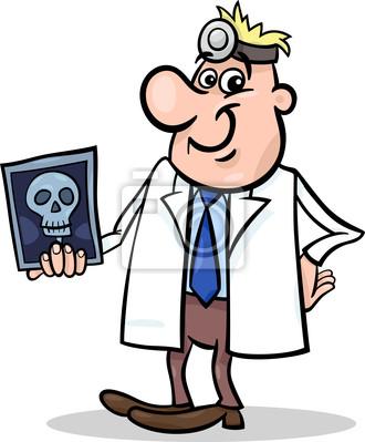Cuadro Ilustración De Dibujos Animados Médico Con Rayos X