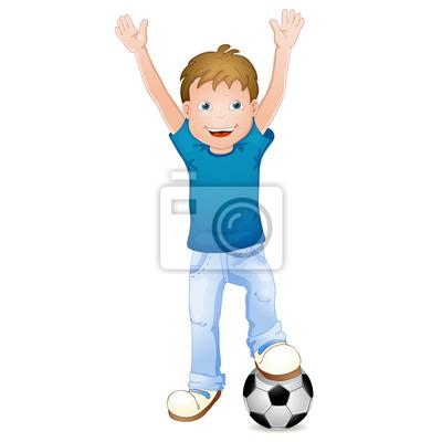 Ilustracion De Dibujos Animados Ninos Jugando Al Futbol Pinturas