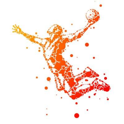 Cuadro ilustración de jugador de baloncesto resumen en salto