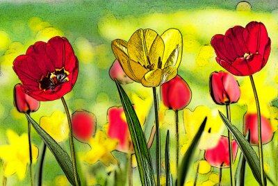 Cuadro Ilustración de la cama de tulipanes
