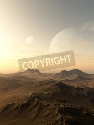 Cuadro Ilustración de la ciencia ficción de los planetas que se elevan sobre el horizonte de un mundo extranjero desolado, 3d rindió digital la ilustración