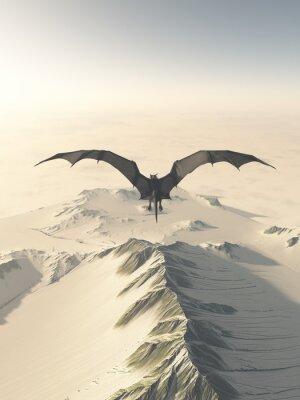 Cuadro Ilustración de la fantasía de un dragón de color gris que vuela sobre una cordillera cubierta de nieve, 3d rindió la ilustración digital