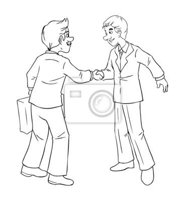 6a0fa1e85121 Cuadro: Ilustración de la historieta de los hombres de negocios dándose
