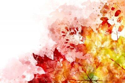 Cuadro Ilustración de la imagen de otoño. Fondo de otoño con hojas de arce amarillas y rojas. Acuarela digital.