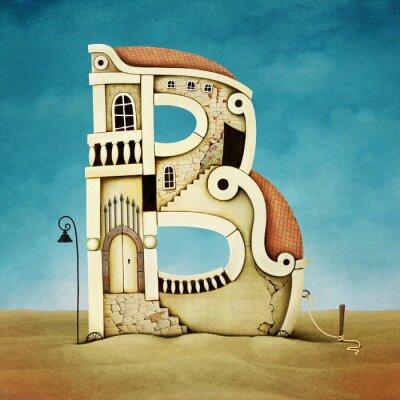 Cuadro Ilustración de la letra en forma de edificios