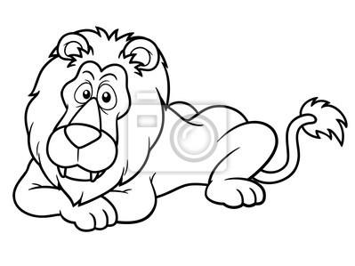 Ilustración De León De Dibujos Animados Libro Para Colorear