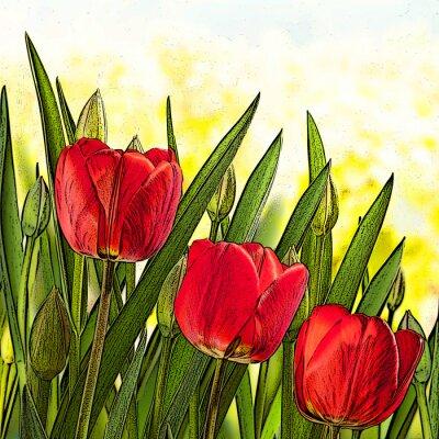 Cuadro Ilustración de tulipanes rojos