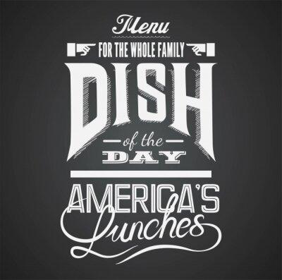 Cuadro Ilustración de un elemento gráfico del vintage para el menú en la pizarra