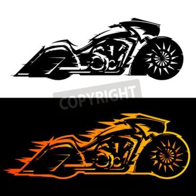 Cuadro Ilustración de vector de moto estilo Bagger, moto de encargo Baggers cubierto de llamas