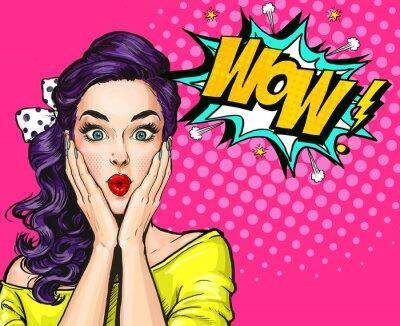 Cuadro Ilustración del arte pop, muchacha sorprendida. Mujer cómica. Cartel publicitario. Muchacha del arte pop. Invitación de fiesta.