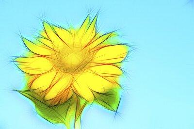 Cuadro Ilustración gelbe Sonnenblume auf Blau