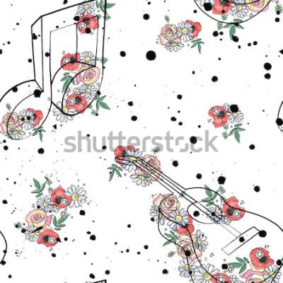 Cuadro Ilustración gráfica de patrones sin fisuras de vector de notas de música de guitarra, flores hojas rama goteo mancha mancha de tinta, splodge, spray Dibujo boceto estilo de dibujo Silueta de acuarela